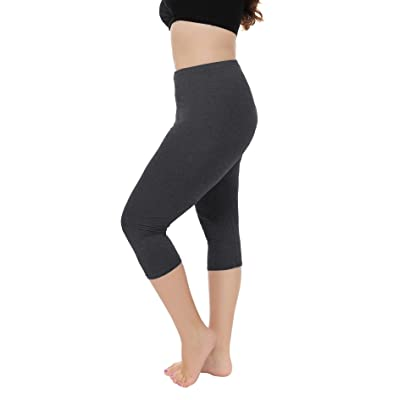 A-Wintage Women's Plus Size Capri Leggings 3/4 Length Leggings Modal Comfortable Leggings
