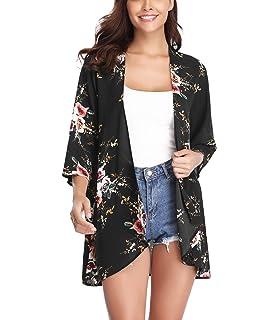 e3327d4b3cf Aibrou Women's Floral Kimono Cardigans,3/4 Sleeve Tops Lightweight Soft Loose  Floral Blouse