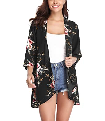 4641630dc Aibrou Open Draped Front Kimono Loose Cardigan, 3/4 Sleeve Beach Robe  Kaftan Boho