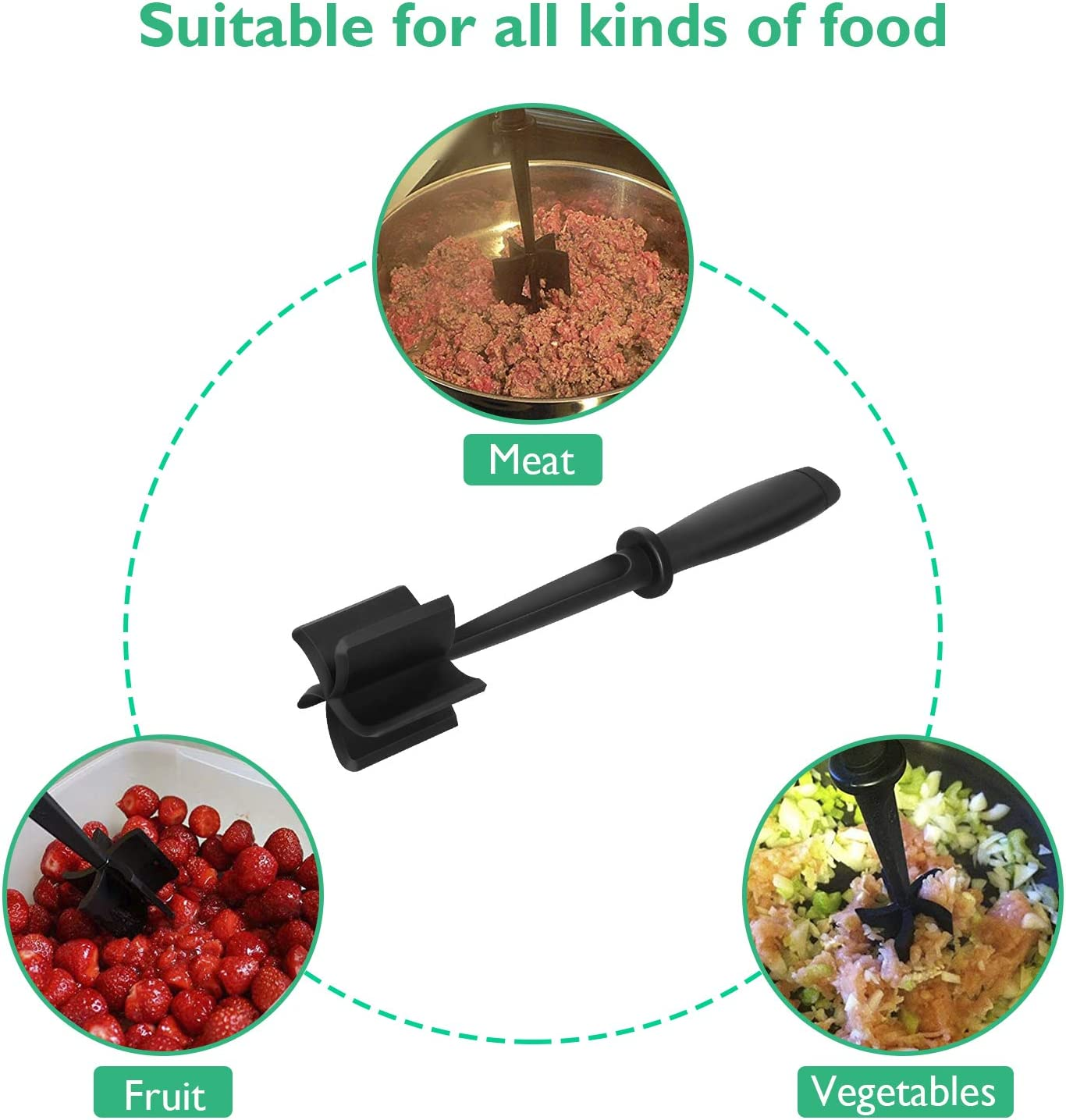 Meat Chopper Practical and Heat Resistant Kitchen Chopping Tool Hamburger Meat Chopper and Masher