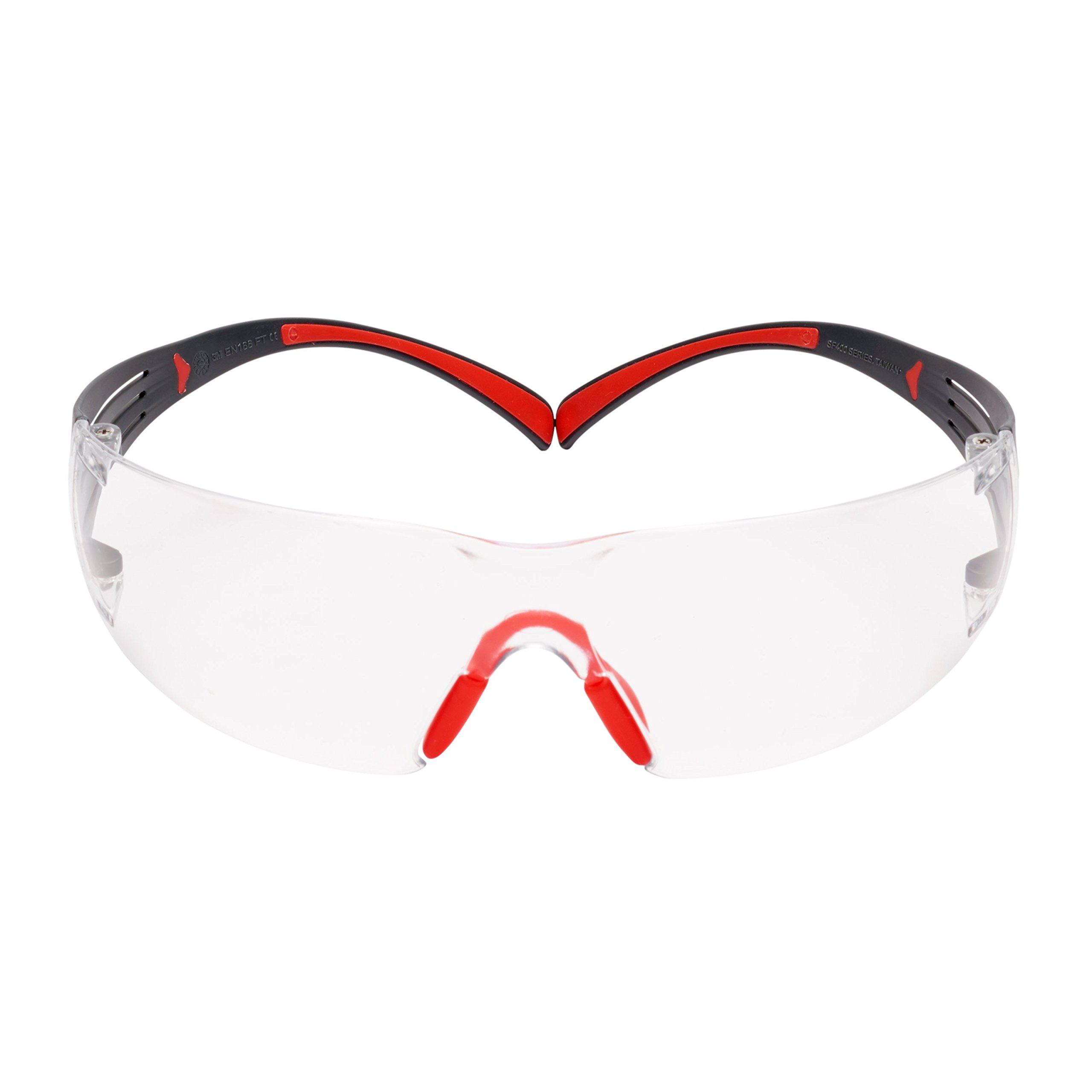 3M SecureFit 27715-case Clear Scotchgard Anti-Fog Lens, Plastic/Polycarbonate, Unisex, Red/Gray (Pack of 1000) by 3M (Image #1)