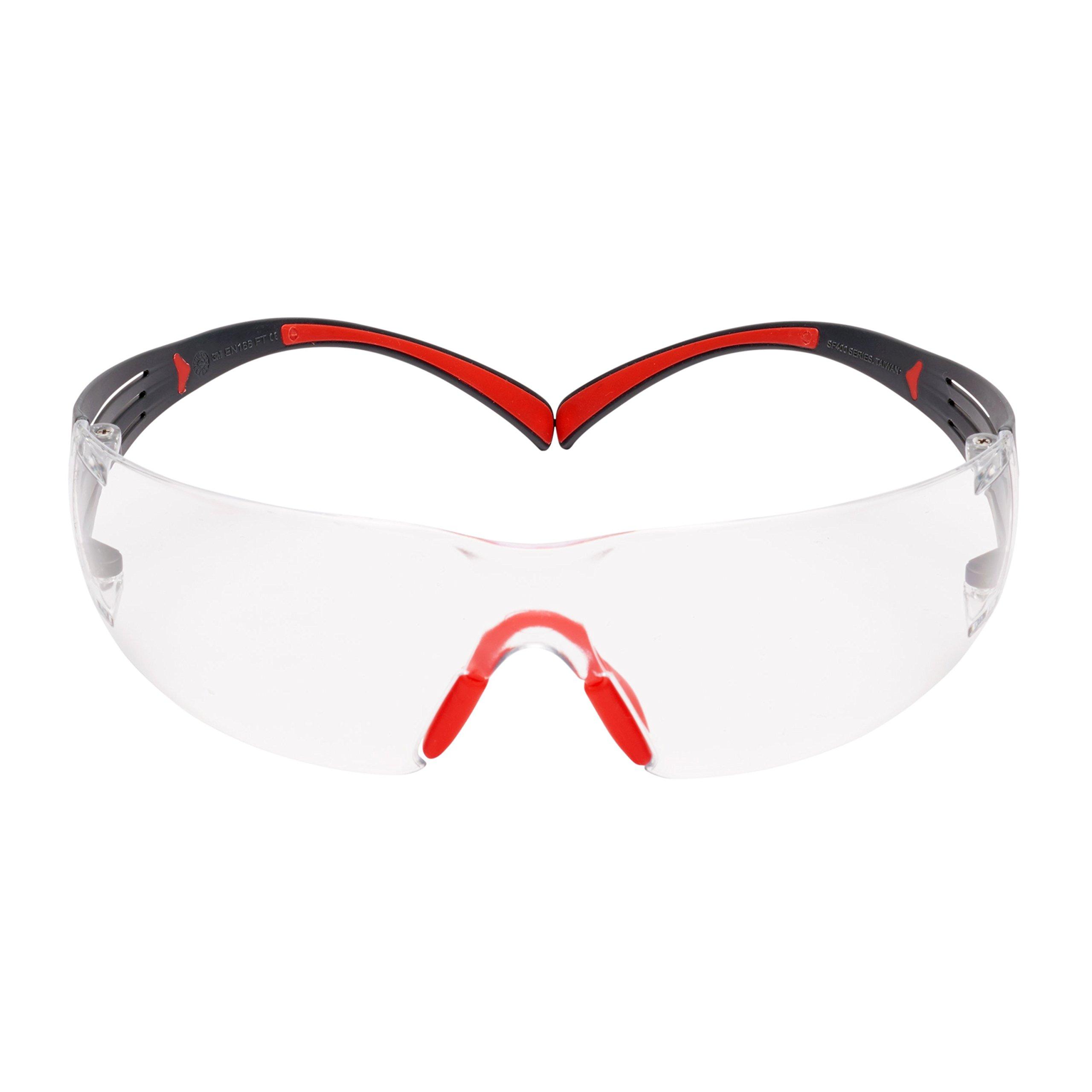 3M SecureFit 27715-case Clear Scotchgard Anti-Fog Lens, Plastic/Polycarbonate, Unisex, Red/Gray (Pack of 1000)