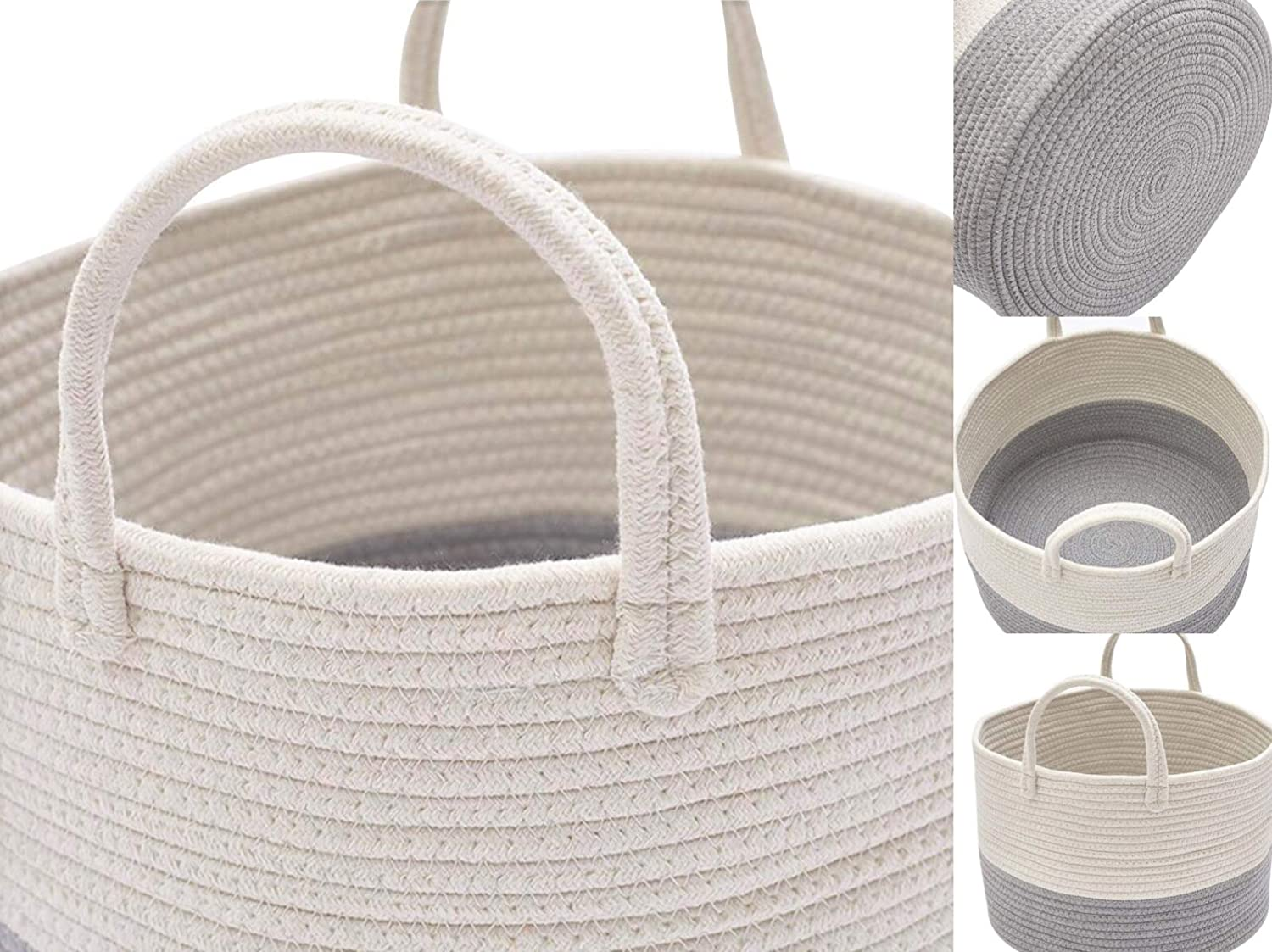 x 13.8 21.7 D H White, XXL DOKEHOM DKA0624WBXL XX-Large Storage Baskets - Cotton Rope Basket Woven Baby Laundry Basket with Handle for Diaper Toy Cute Neutral Home Decor