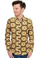 Mens Run & Fly 60s 70s Geometric Retro Pattern Printed Shirt