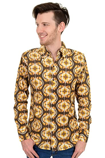 Run Fly Mens 60s 70s Geometric Retro Pattern Printed Shirt Amazon