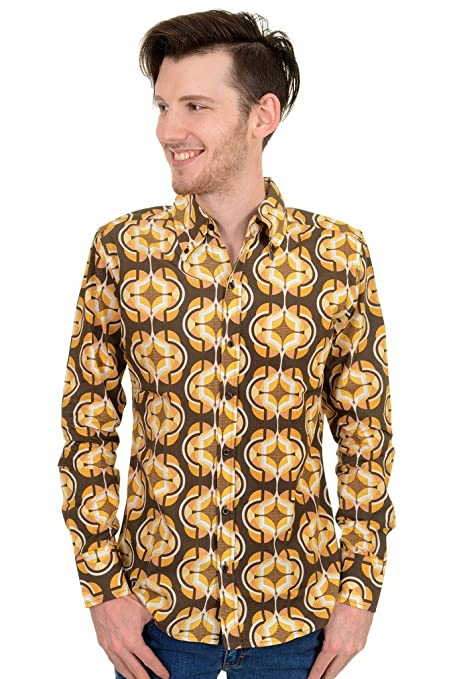 1960s – 70s Mens Shirts- Disco Shirts, Hippie Shirts Mens Run & Fly 60s 70s Geometric Retro Pattern Printed Shirt $34.95 AT vintagedancer.com