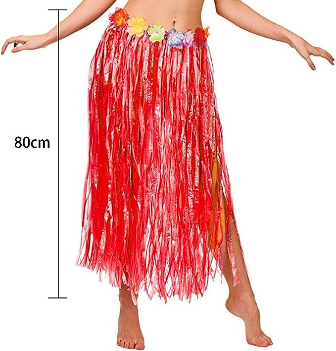 YUJUAN Hawaiian Hula Dancer Grass Skirt with Flowers Set 8Pc for Kids Girls
