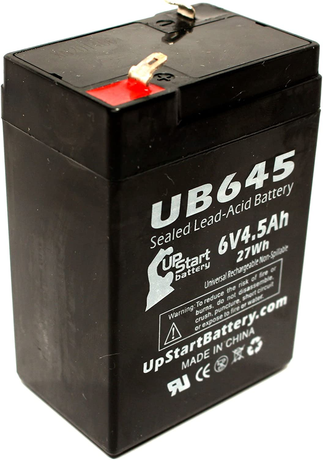 Replacement for Rcl RCL3000 Battery Replacement UB645 Universal Sealed Lead Acid Battery 6V, 4.5Ah, 4500mAh, F1 Terminal, AGM, SLA - Includes Two F1 to F2 Terminal Adapters
