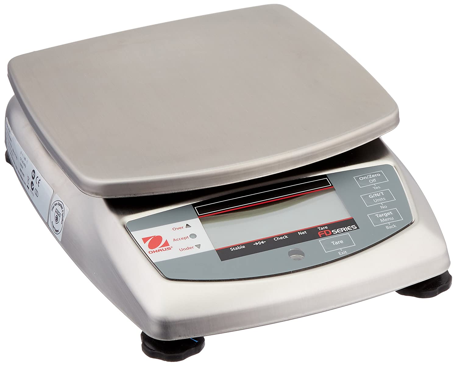 Ohaus FD15 FD Series Stainless Steel Food Portioning Scale, Legal for Trade, 30lb Capacity, 0.005lb Readability