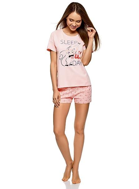 oodji Ultra Mujer Pijama Estampado con Pantalones Cortos, Rosa, ES 42 / L