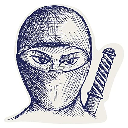 Pegatina de pared Salón Asia Dibujo de Ninja Fighter Asia ...