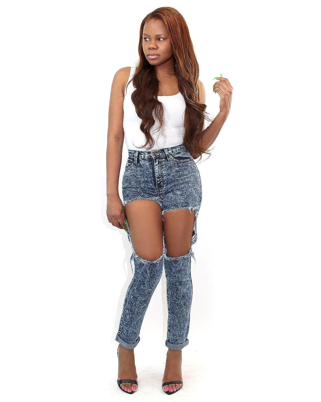 7TwentyFour Distressed Thigh Cut Out Jeans