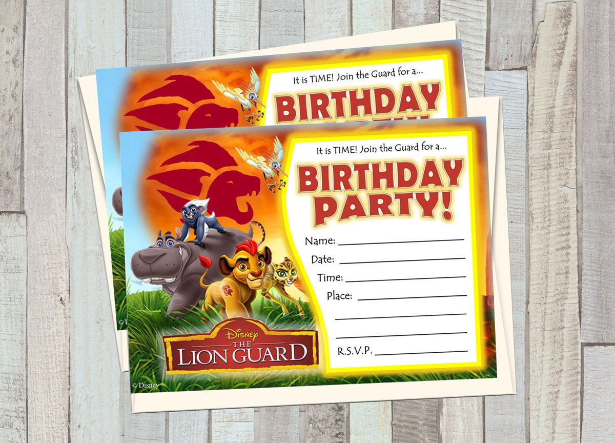 12 LION GUARD Birthday Invitations 5x7in Cards Matching White Envelopes