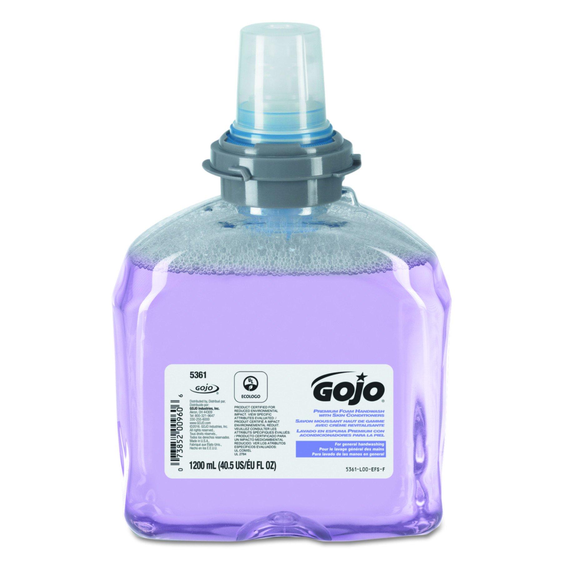 GOJO 5361-02 1200 mL Premium Foam Handwash With Skin Conditioners (2 per Case)