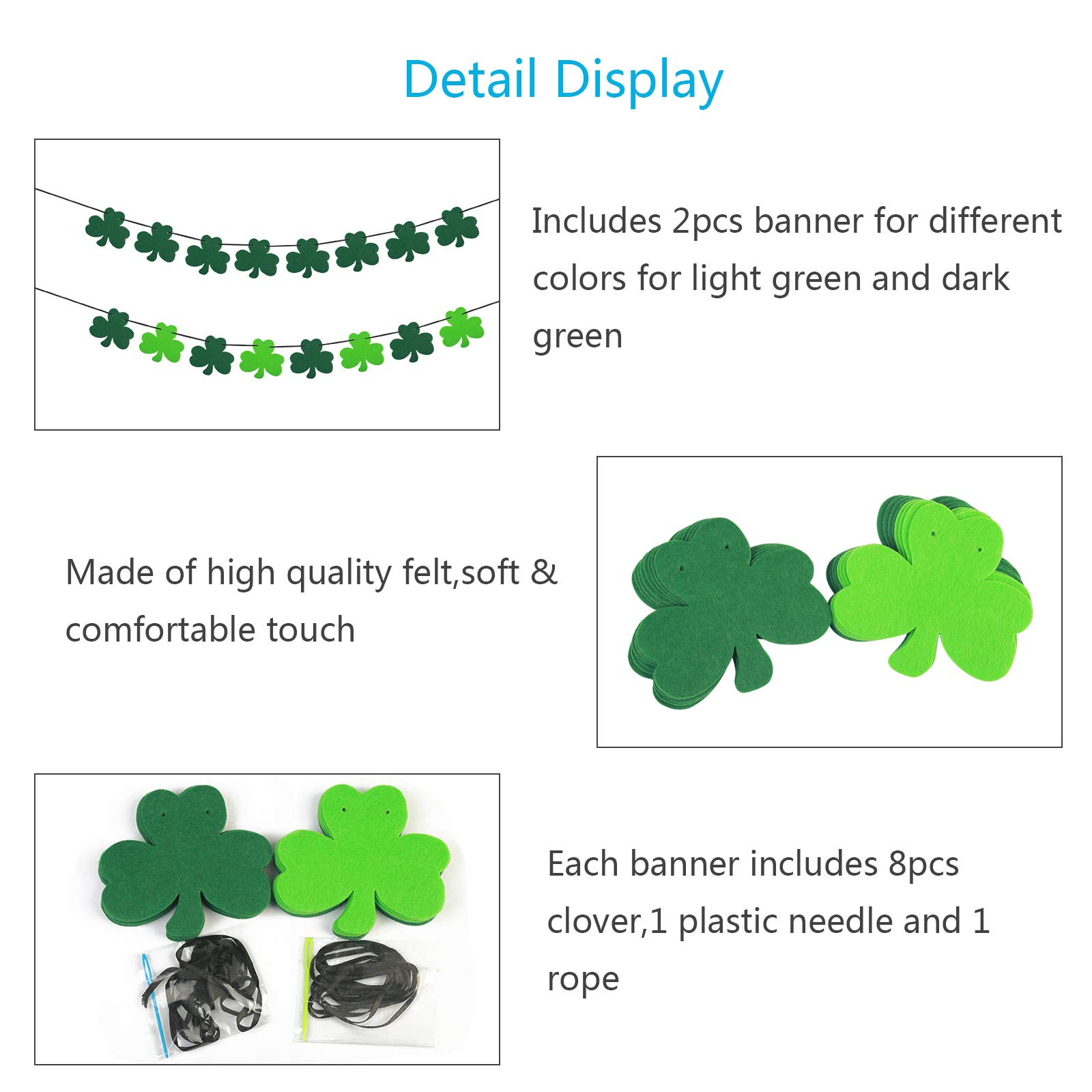 ZERHOK Clover Banner Irish Felt Shamrock Bunting St. Patrick \'s Day Garland Decoration for St Patrick\'s Day Decoration Irish Party Supplies