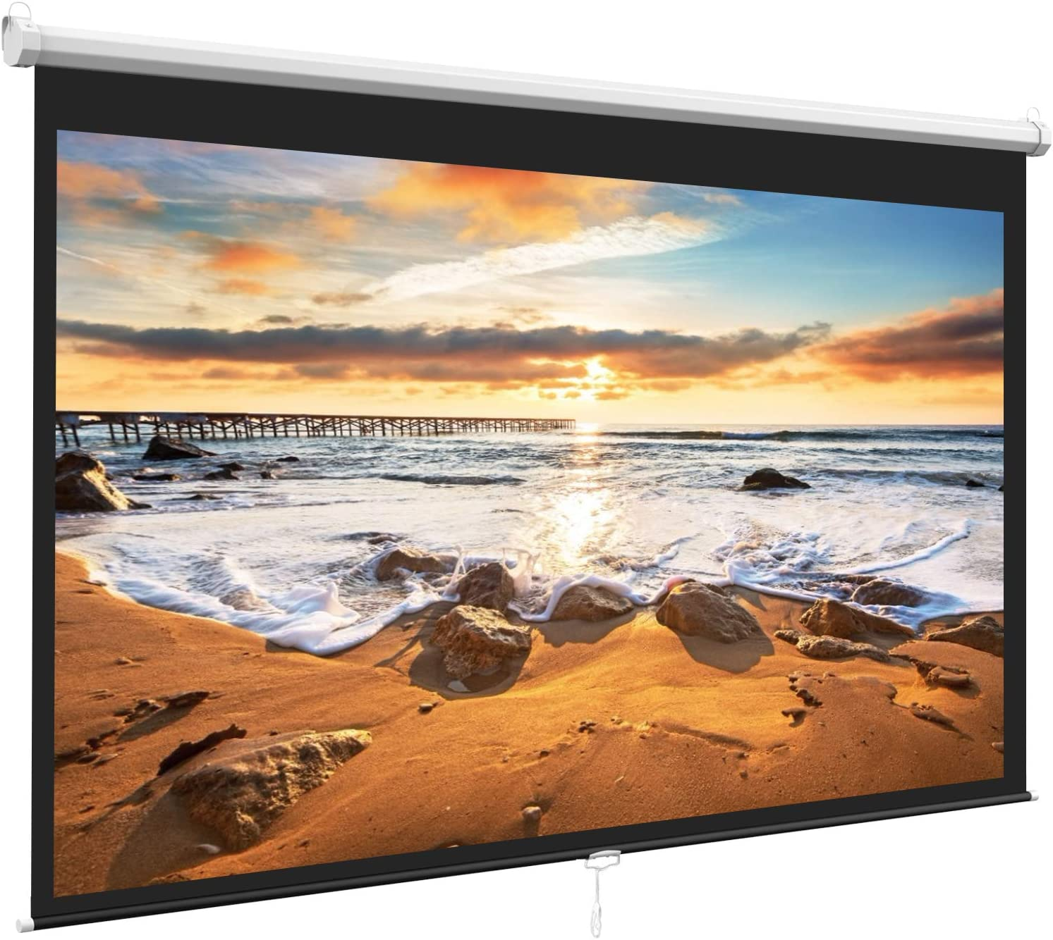 Matte White Indoor /& Outdoor 100inch 16:9 HD Pull Down Manual Projector Screen