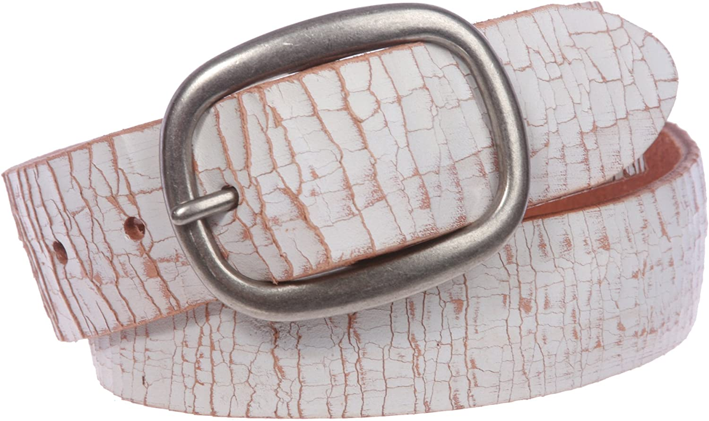 Snap On Crack Finish Oil Tanned Full Grain Leather Oval Jean Belt