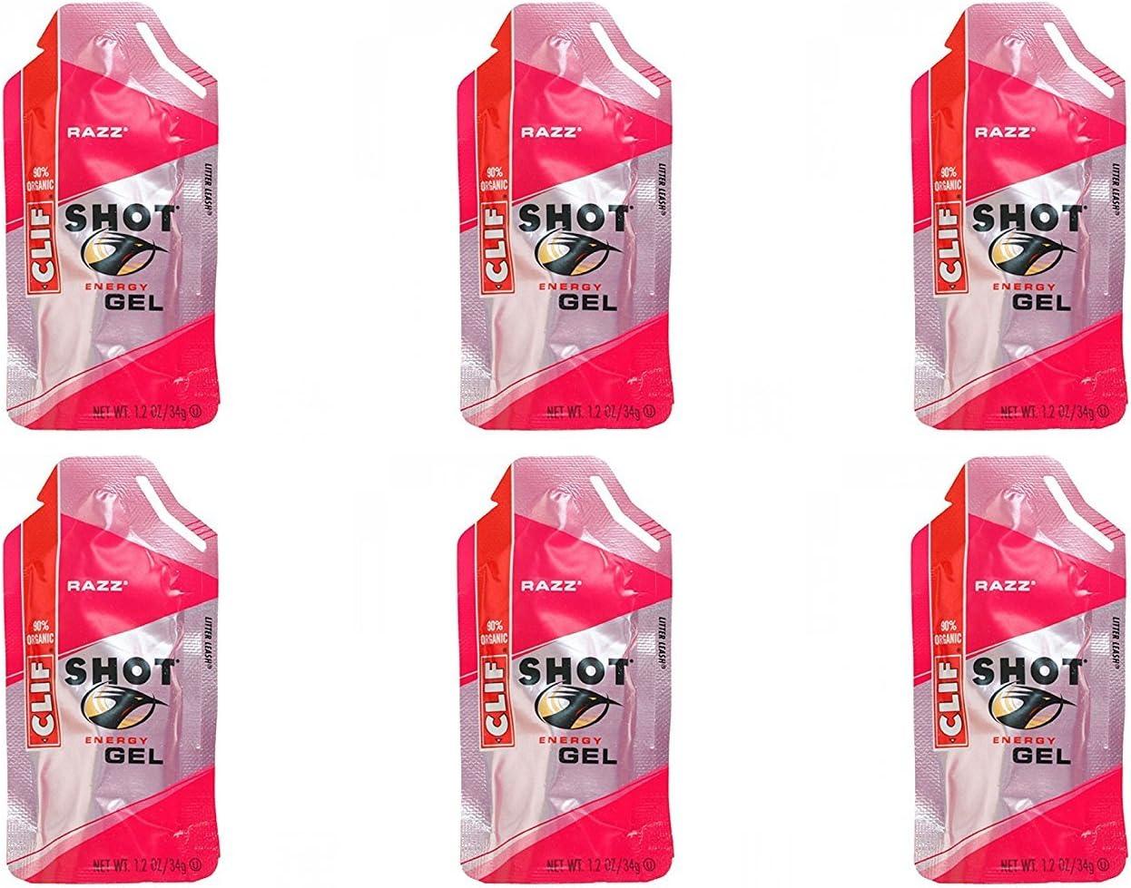 Clif Shot Gel - Razz - 6 Pack (6 x 1.2oz Packs)