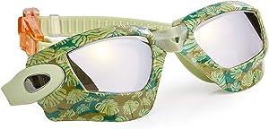 Bling 2O Kids Swimming Goggles - Green Jungle Theme Swim Goggles for Boys - Anti Fog, No Leak, Non Slip, UV Protection with Hard Travel Case - 8+