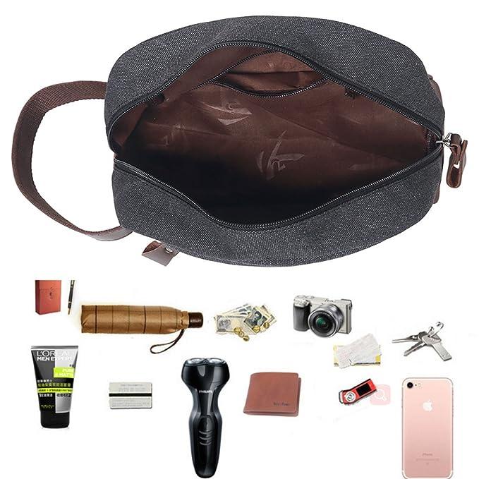 JAKAGO Canvas Large Overnight Wash Gym Shaving Toiletry Bag Travel  Organizer Shaving Dopp Kit Cosmetic Makeup Bag for Men  Amazon.co.uk   Luggage bf6947aac32c4