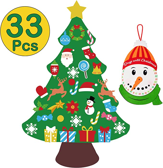 Amazon.com: jollylife 3ft DIY Felt Christmas Tree Set + Snowman Advent Calendar - Xmas Decorations Wall Hanging 33 Ornaments Kids Gifts Party Supplies: Home & Kitchen