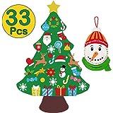 jollylife 3ft DIY Felt Christmas Tree Set Snowman Advent Calendar - Xmas Decorations Wall Hanging 33 Ornaments Kids…