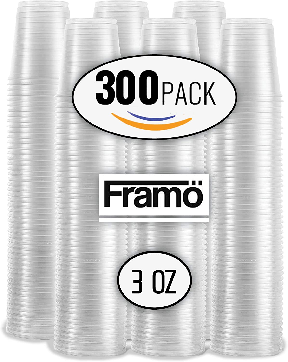 3 Oz Clear Plastic Cups by Framo, For Any Occasion, BPA-Free Disposable Transparent Ice Tea, Juice, Soda, and Coffee Glasses for Party, Picnic, BBQ, Travel, and Events, (300 count)