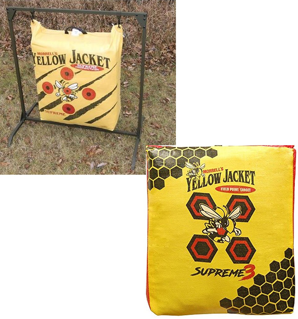 Bundle Includes Yellow Jacket Supreme 3 Field Point Bag Target and HME Products BTS Bag Target Stand, Olive