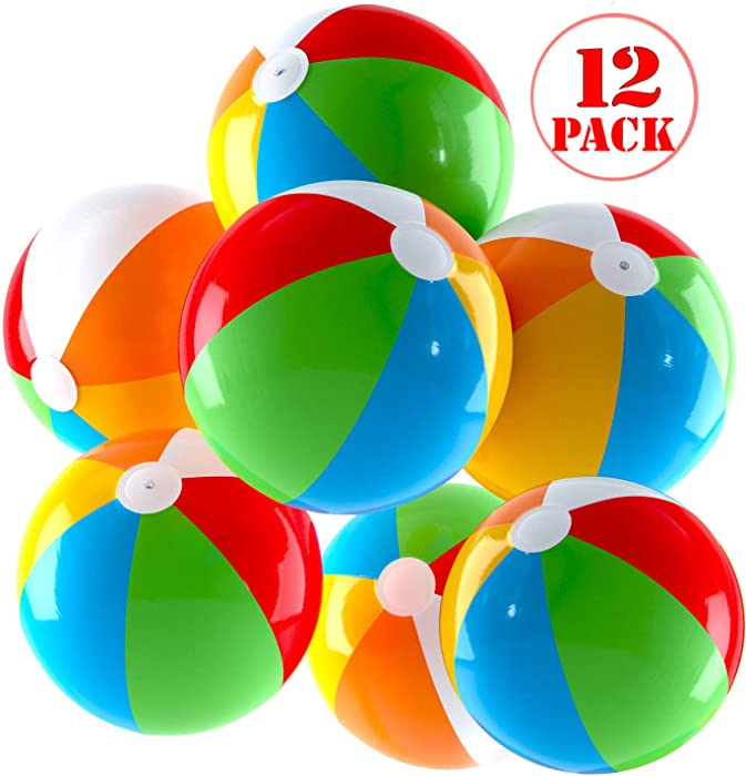 Top Race Inflatable Beach Balls Jumbo 24 inch Pool Balls, Beach Summer Parties, and Gifts | 12 Pack Blow up Rainbow Color Beach Ball (12 Balls)