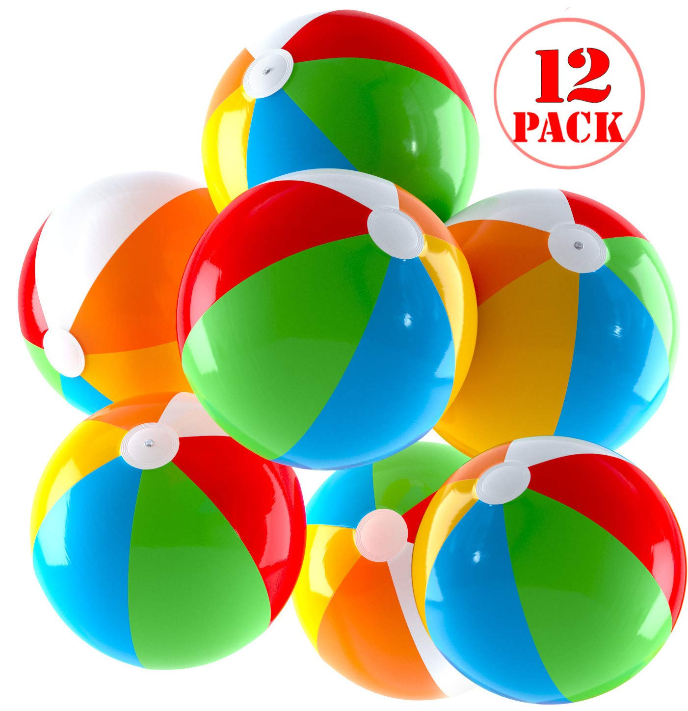 Top Race Inflatable Beach Balls Jumbo 24 inch Pool Balls, Beach Summer Parties, and Gifts | 12 Pack Blow up Rainbow Color Beach Ball (12 Balls) by Top Race