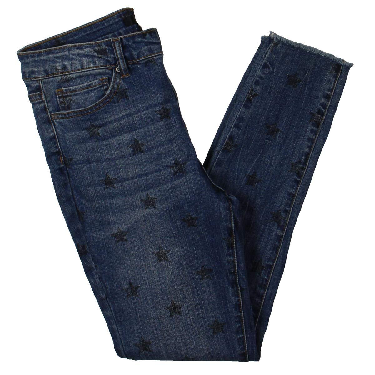 Cypress Aqua Womens Star Print Mid Rise Skinny Jeans