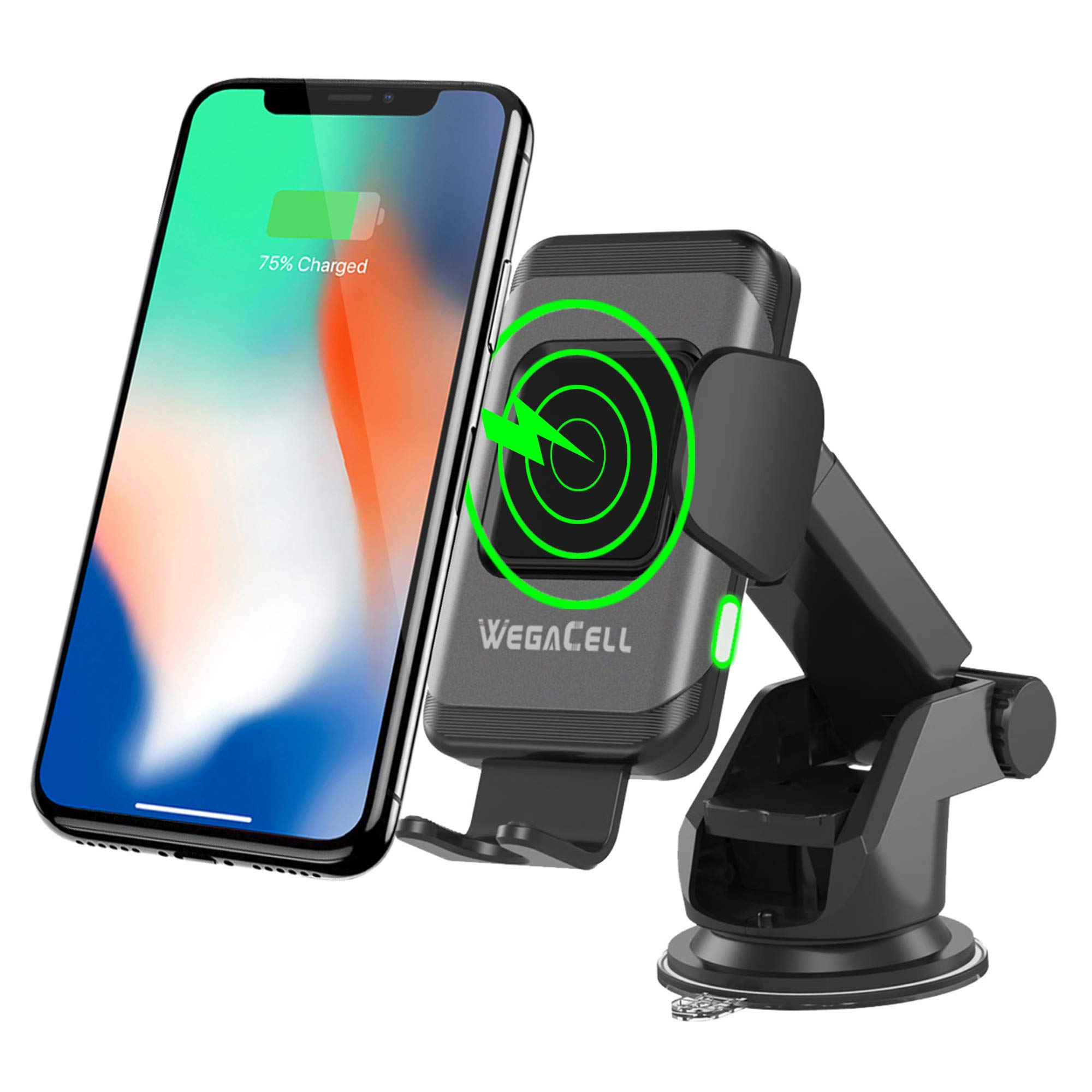 Wegacell Fast Wireless Car Charger Phone Mount, Qi Charging, Windshield Dash Vent Phone Holder, Auto Clamping Arms Compatible with iPhone XR, 8, or Newer, Samsung S7 or Newer, and Other Smartphones by Sonilex Industries Ltd.