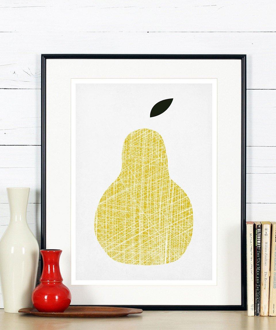 Amazon.com: Kitchen poster set, fruit, pear, apple, cherries, retro ...