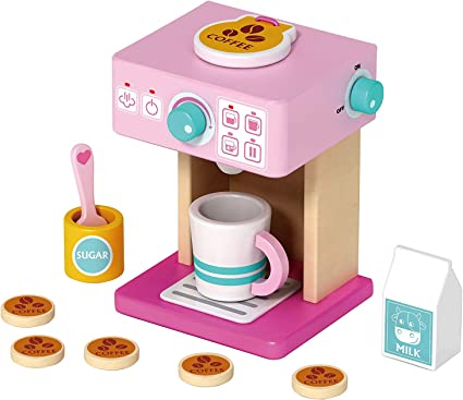 : TOYSTER'S My Coffee Set Wooden Pink Coffee Maker