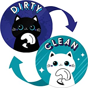 Clean Dirty Dishwasher Magnet Funny Cat - Ideal as Housewarming Gifts New Home, Gift for Mom from Daughter and Son, Kitchen Gift for Grandma - Dishwasher Magnet Clean Dirty Funny Flip