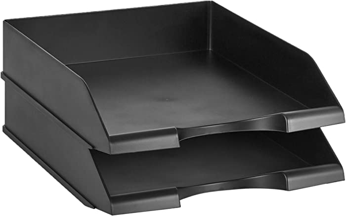 AmazonBasics Stackable Office Letter Organizer Desk Tray - Pack of 2, Black