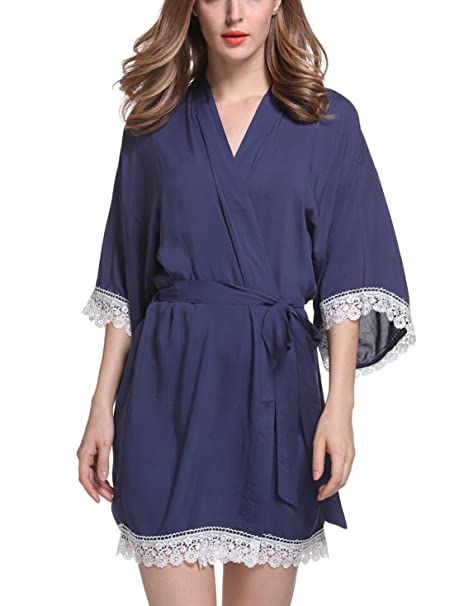 Feoya - Pijama Kimono Vestido Corto de Algodón Mercerizado con Encaje Color Sólido Bata Albornoz Suave