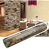 Homdox Brick Wallpaper, Textured Removable and Waterproof for Home Design and Room Decoration, Super Large Size 10m x 0.53m / 393.7'' x 21''