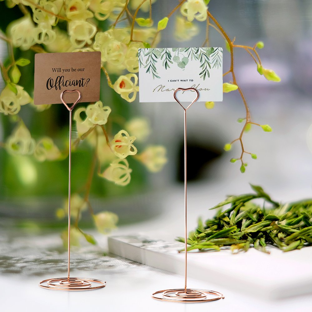 Jofefe 10pcs 8.6 Inch Tall Place Card Holder Table Number Holder Table Card Holder Table Number Stands with Heart Shape Photo Picture Memo Clips for Wedding Favors, Rose Gold