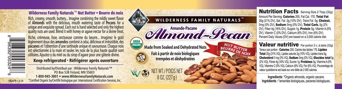 Nut Butter, Organic, Raw, Soaked & Dried, Almond-Pecan, 8 oz. jar