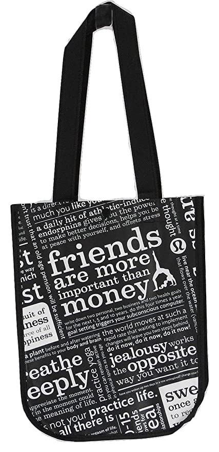 5f61a68f1a Amazon.com  Lululemon Black Manifesto Small Reusable Tote Carryall Gym Bag   Kitchen   Dining
