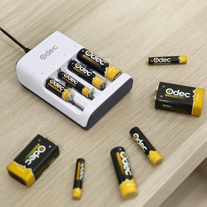 Odec Cargador de Pilas, 4 Ranuras para Baterías Ni-Cd / Ni-MH AA AAA AAAA N, 2 Ranuras para la Batería Recargable de 9V Li-ion, con un Cable Micro USB: ...