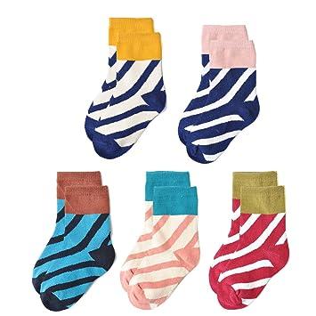 EPEIUS ガールズオシャレソックス 子供用靴下 カラフル 快適 柔らかい キッズ ベビー かわいい綿混靴下 12,22cm 2,12歳  5足セット(ボーダー2 1517)