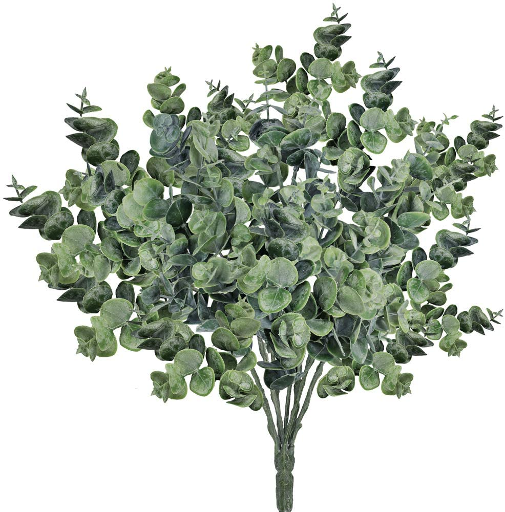 "Supla Pack of 3 Faux Eucalyptus Leaves Spray Artificial Greenery Stems Fake Silver Dollar Eucalyptus Branches Plants in Dusty Green 14.6"" Tall x 10"" Wide for Greenery Wedding Jungle Theme Party"