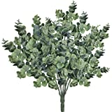 Supla Pack of 3 Faux Eucalyptus Leaves Spray Artificial Greenery Stems Fake Silver Dollar Eucalyptus Branches Plants in…