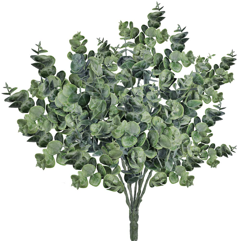 Supla Pack of 3 Faux Eucalyptus Leaves Spray Artificial Greenery Stems Fake Silver Dollar Eucalyptus Branches Plants in Dusty Green 14.6'' Tall x 10'' Wide for Greenery Wedding Jungle Theme Party