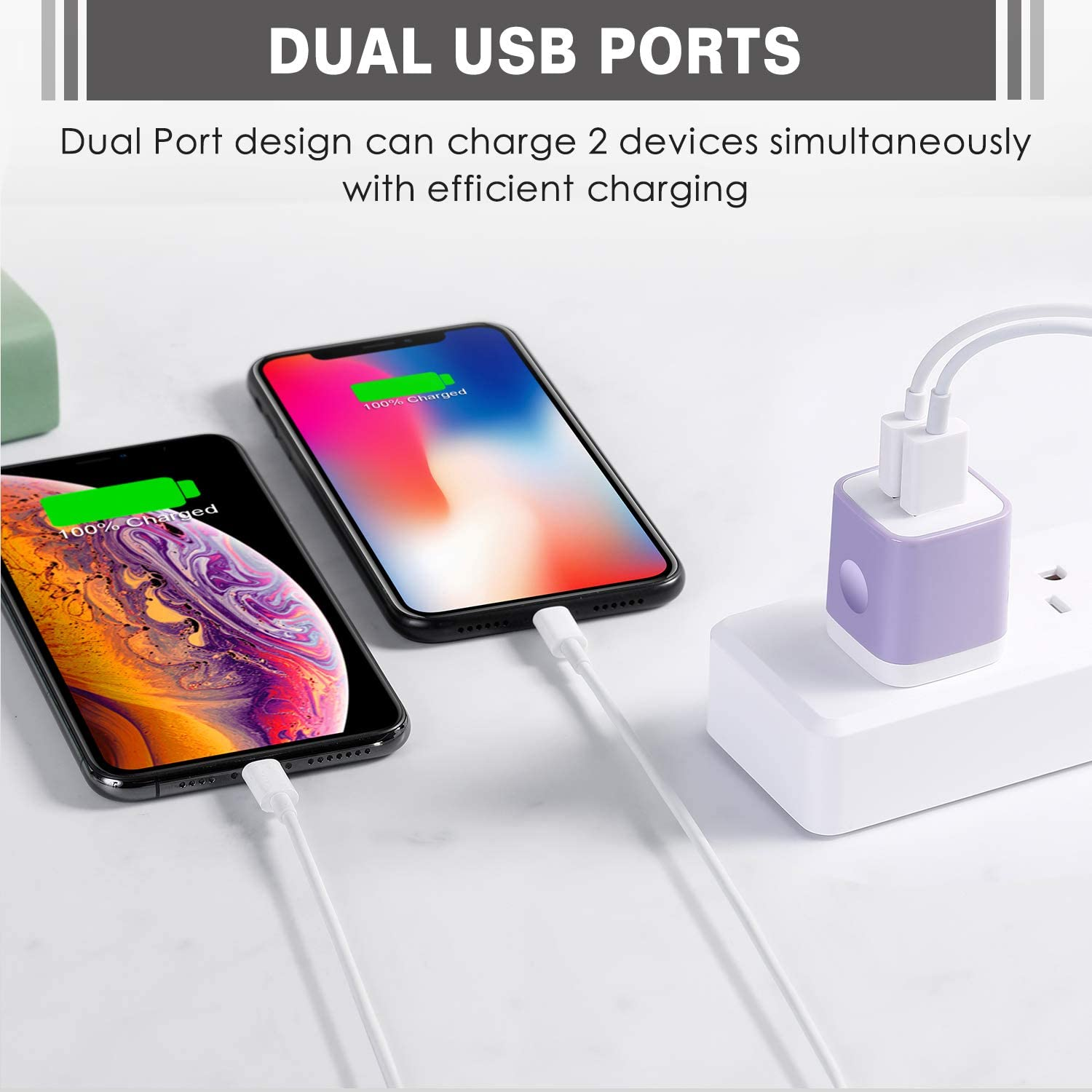 Samsung Galaxy S8 S7 S6 Edge Pad 5-Pack 2.1A Dual Port USB Charger Plug Power Adapter Charging Block Cube for Phone Xs Max Xs XR X 8 7 6S 6 Plus 5S LG Moto Android Phone Power-7 USB Wall Charger