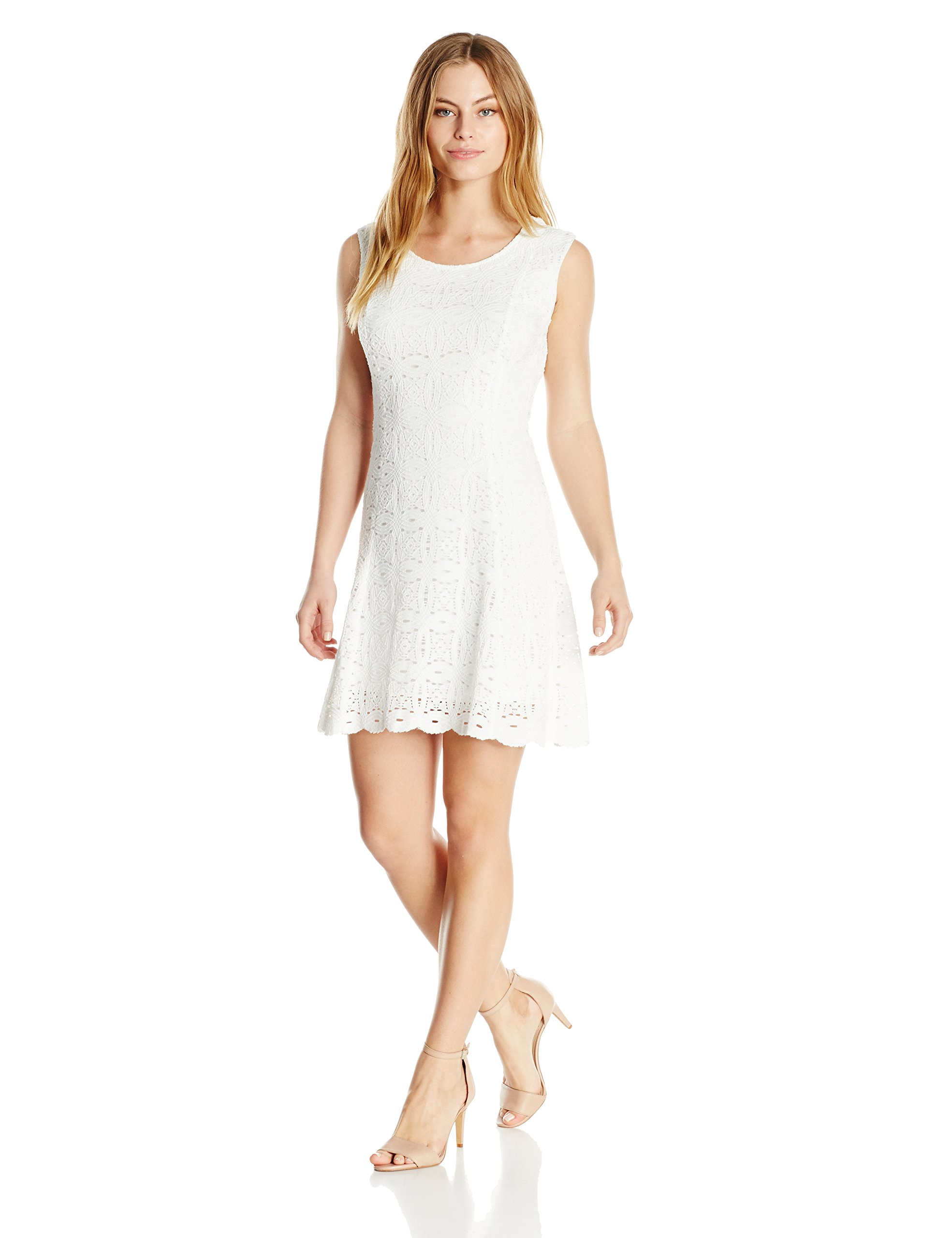 Ronni Nicole Women's Petite Sleevless Fit N Flare Medallion Lace, Ivory, 8P