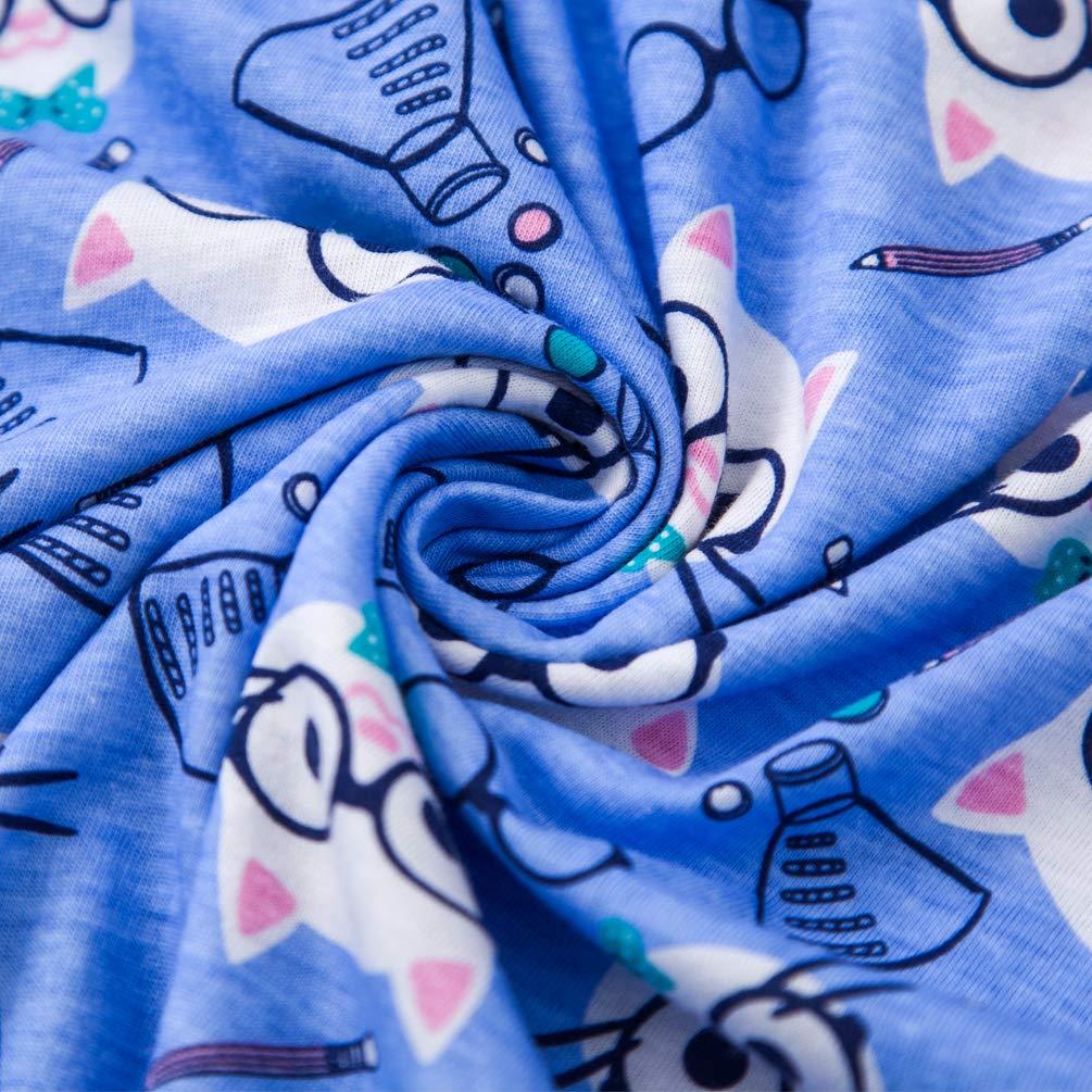 ENJOYNIGHT Women\'s Sleepwear Tops with Capri Pants Pajama Sets (Shorts-Cat, Medium)