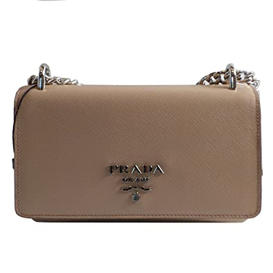 afa1b8d2ddb3 Image Unavailable. Image not available for. Color  Prada Women s Rose Beige Saffiano  Crossbody Soft Calf Leather 1BD144